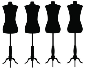 Silhouette of tailors dummy mannequin isolated on white background